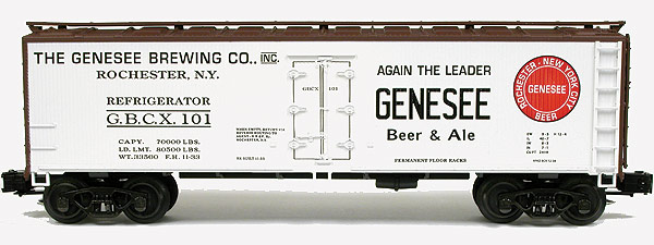 Genesee Brewing O Scale refrigerator car with the slogan, AGAIN THE LEADER.